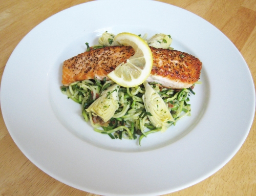 Zucchini Pasta with Salmon and Artichokes